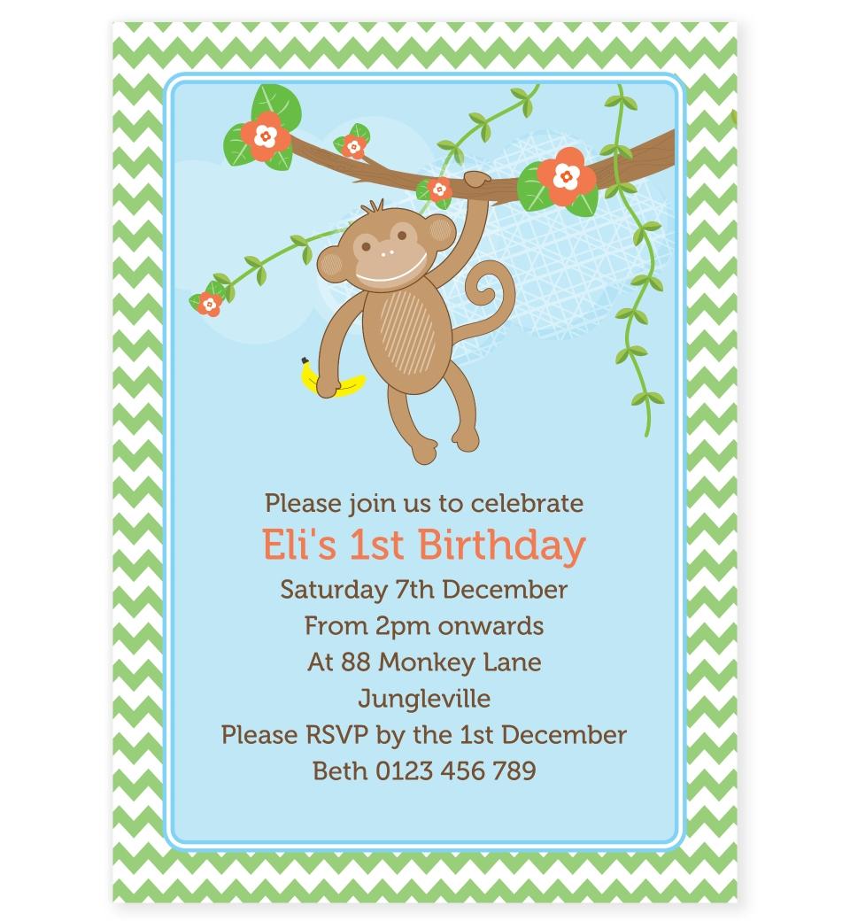 cheeky monkey birthday invitation