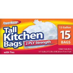 Tall Kitchen Bags Cupboard Gadgets Powerhouse 13 Gallon 15 Count