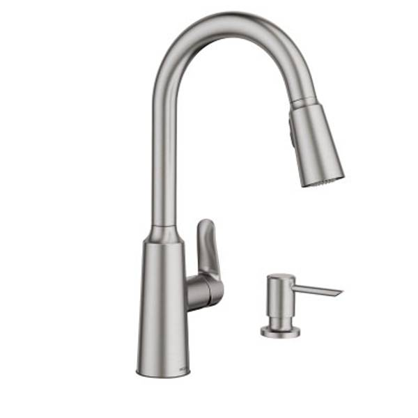 kitchen faucet moen espresso and white cabinets edwyn spot resist stainless one handle pulldown