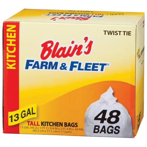 tall kitchen bags hutch furniture blain s farm fleet 13 gallon with twist ties