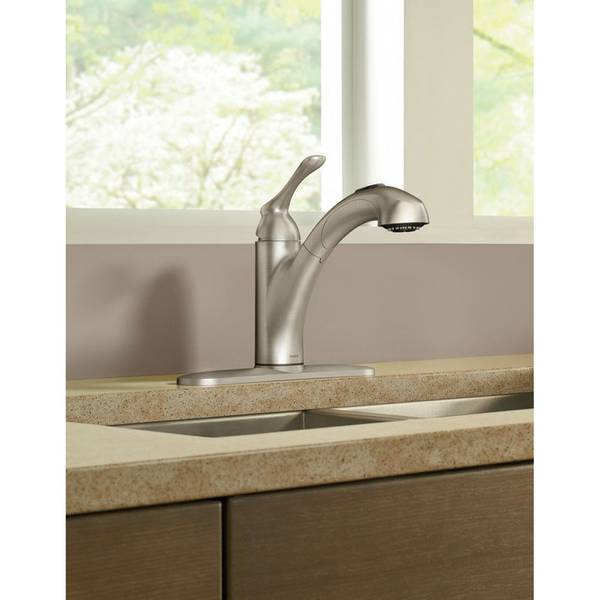 pull out kitchen faucets lower cabinets moen banbury single handle pullout faucet