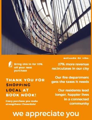 Esempio di un volantino da offrire ai clienti ringraziandoli per lo shopping locale
