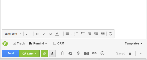 A screenshot showing how Yesware email software looks in a draft email.