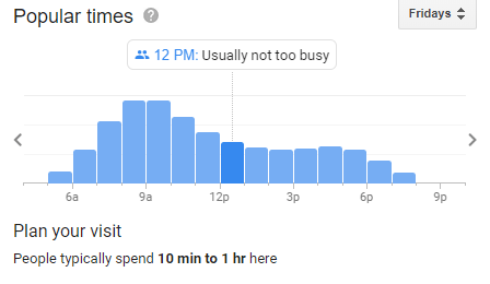 Screenshot of Google SERP result for a local business showing busy times of day
