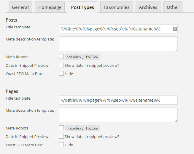 "The ""post types"" tab in Titles and Metas"