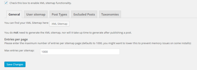 "The ""General"" tab of the XML Sitemaps section"