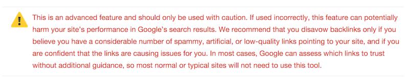 Google disavow warning