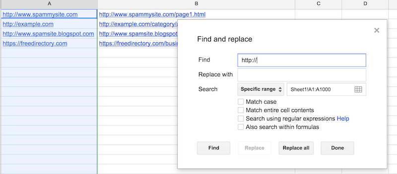 removing http from url audit