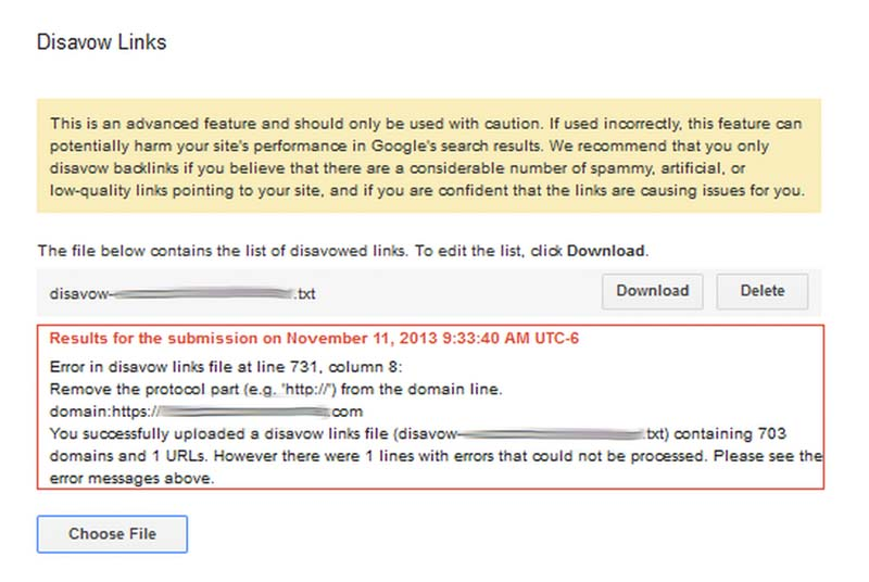 errors in link disavow