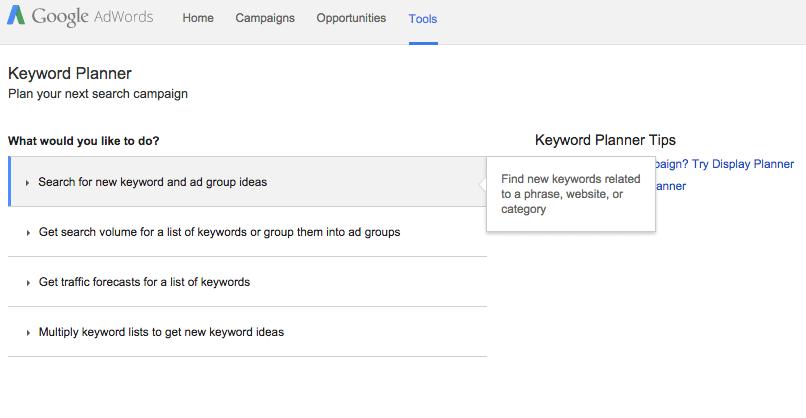 Keyword planner for keyword research