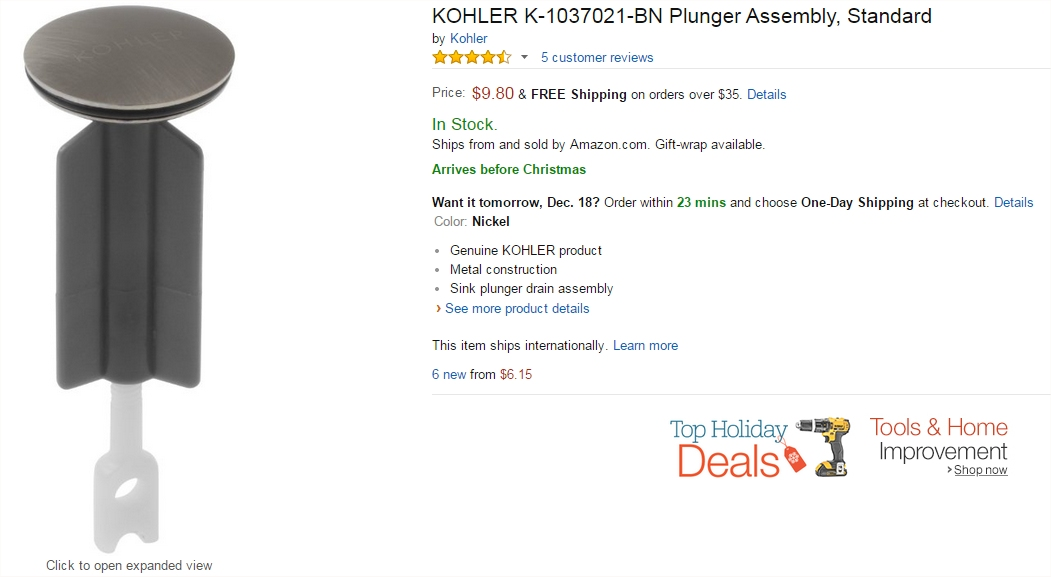 Kohler store, sink stopper, on Amazon.com
