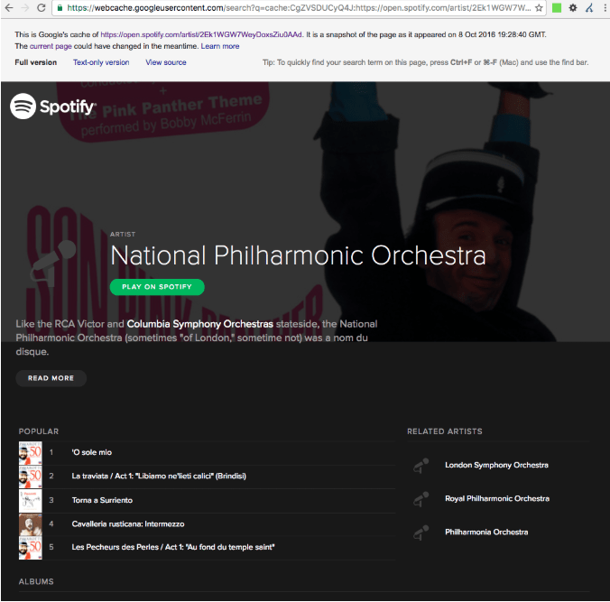 Spotify shows a National Philharmonic Orchestra landing page to logged in visitors.