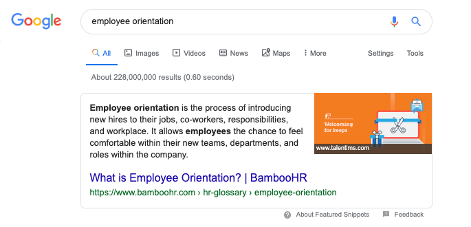 "Featured snippet won for ""employee orientation"""