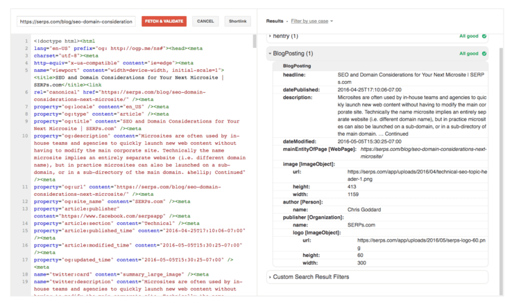 google structured data testing tool validates dynamically generated JSON-LD
