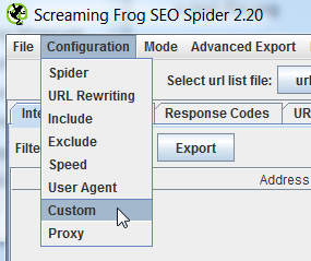 Custom Filters for Screaming Frog