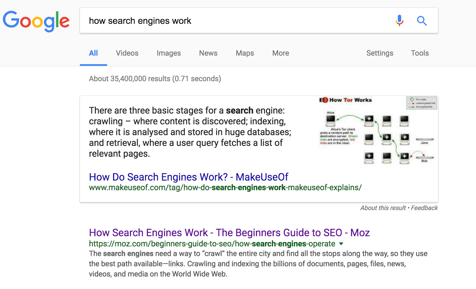 "Screenshot: SERP & snippet for ""how do search engines work"""