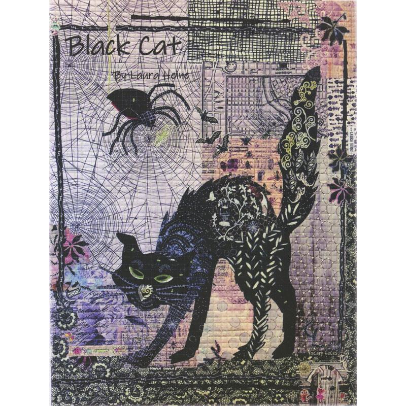 Black Cat Collage Pattern - Laura Heine Fiberworks