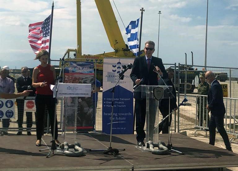 Ambassador Pyatt delivers remarks at Alexandroupoli port (State Department Photo)
