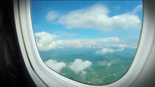 looking out of airplane window over london Stock Video