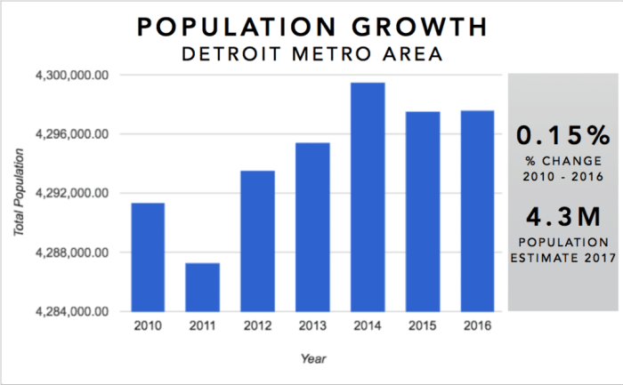 Detroit Real Estate Investment Market Trends & Statistics - Metro Area Population Growth 2010-2016 Infographic