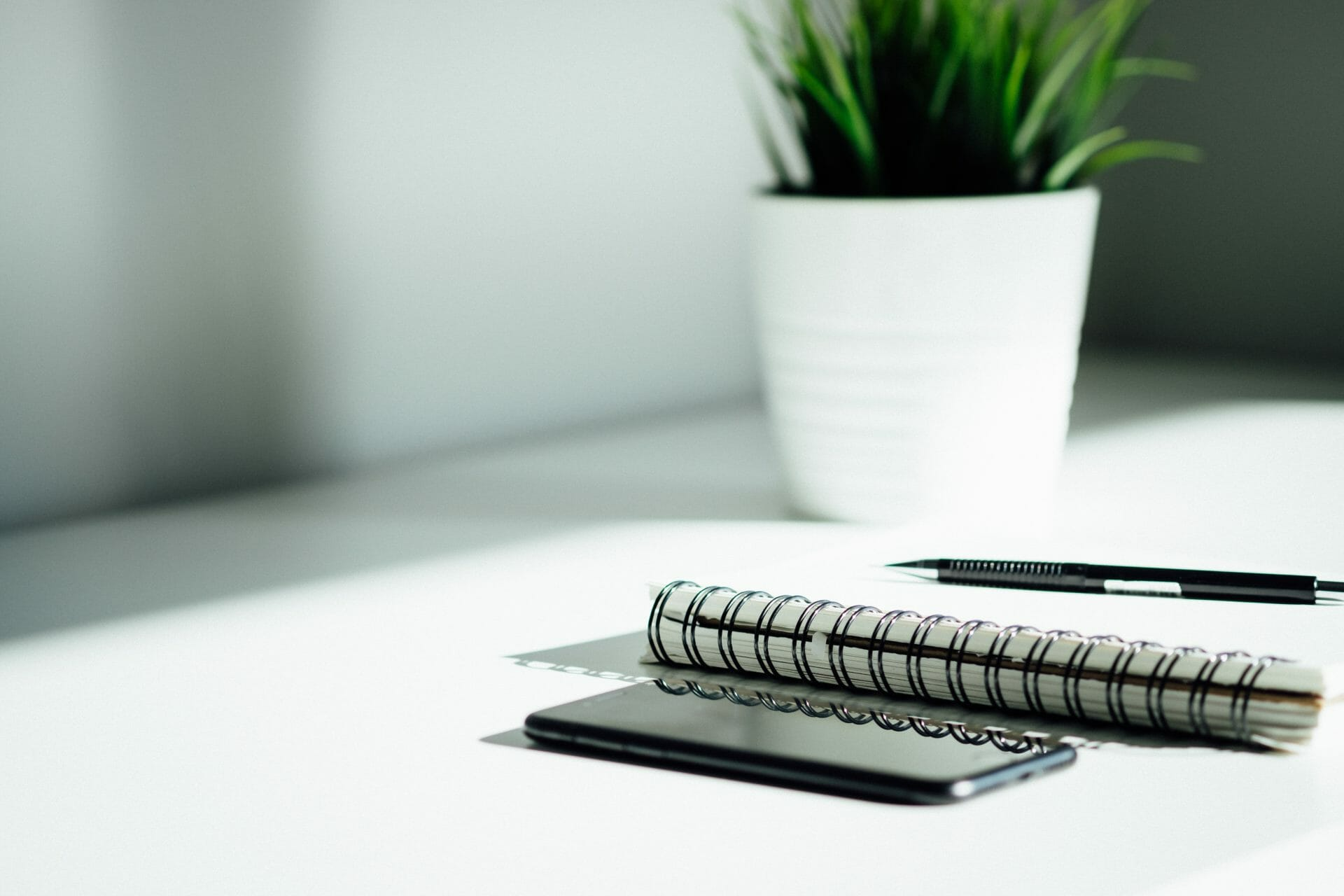Picture of phone, notebook and plant on a desk