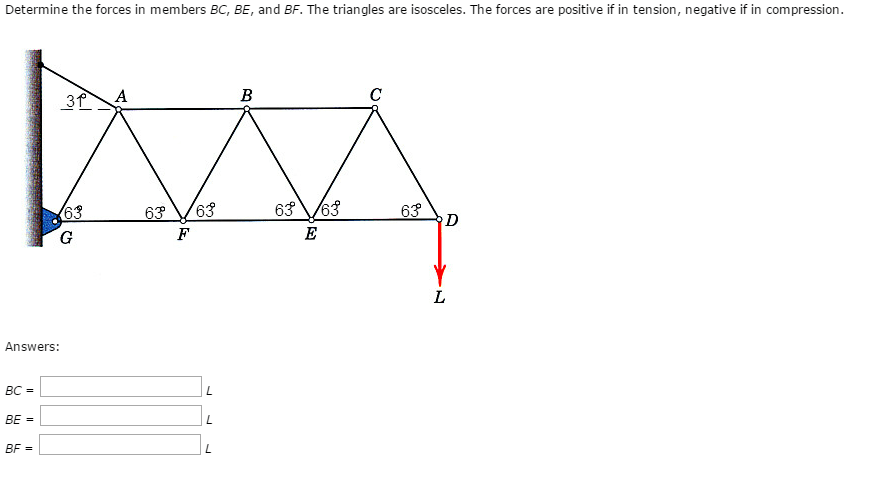 Solved: Determine The Forces In Members BC, BE, And BF. Th