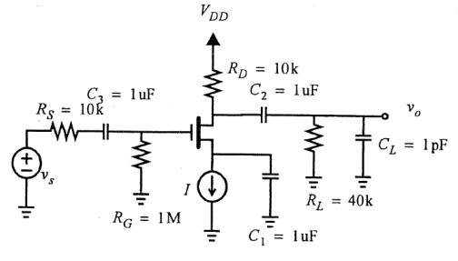 Solved: Cgs=1pF; Cgd=0.2pF; Cdb=0.2pF; Gm=4mA/V. Estimate