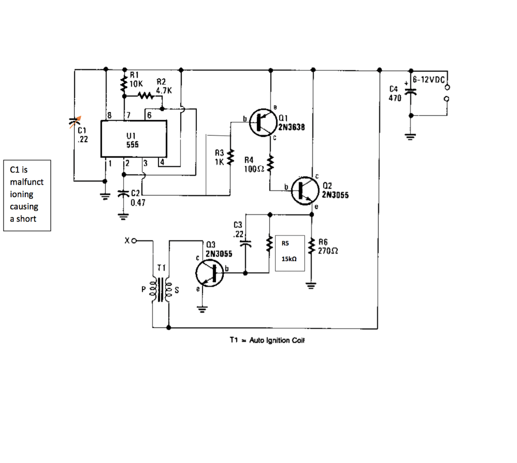 hight resolution of question circuit battery powered high voltage generator circuit diagram output voltage great enough to jump a l inch gap can be obtained from a 12 v