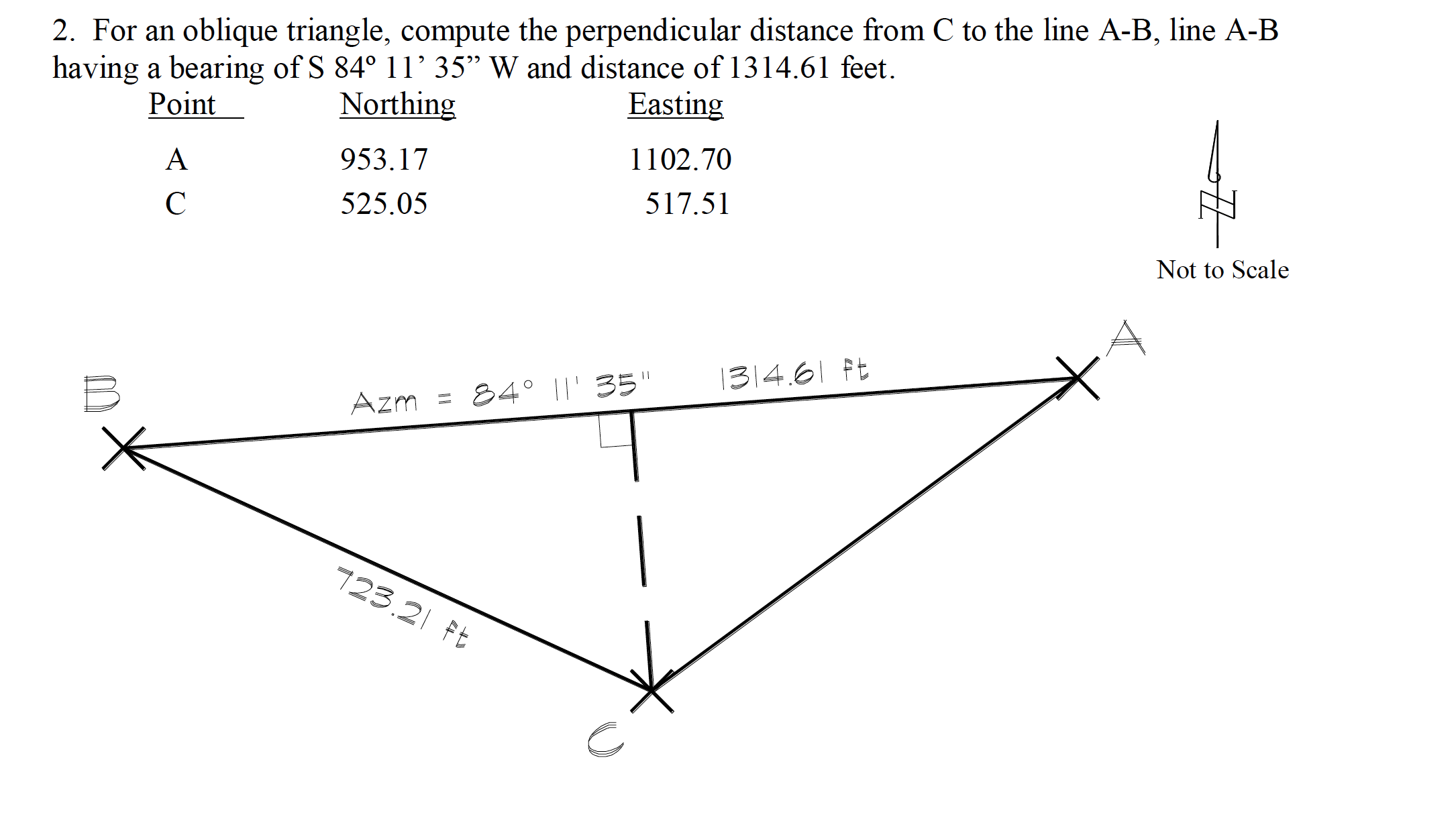 Solved 2 For An Oblique Triangle Compute The Perpendicu