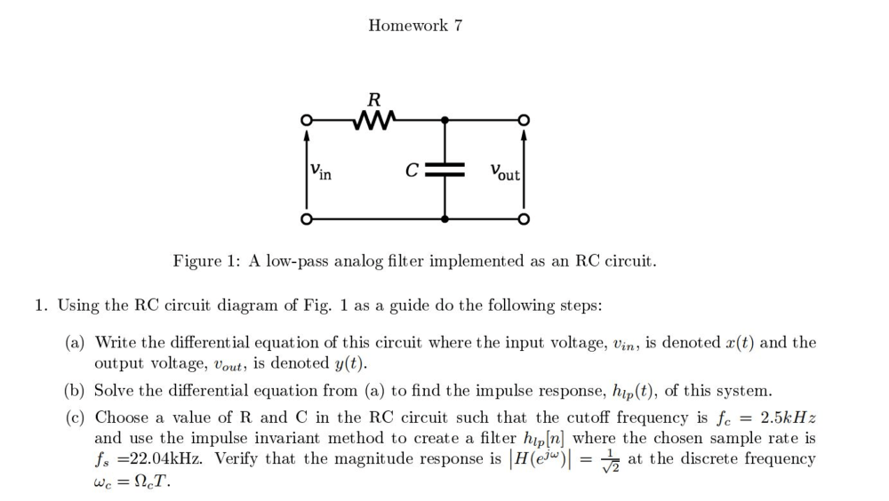 medium resolution of question using the rc circuit diagram of fig 1 as a guide do the following steps write the differential equation of this circuit where the input voltage