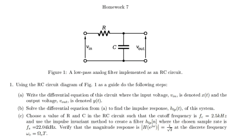 small resolution of question using the rc circuit diagram of fig 1 as a guide do the following steps write the differential equation of this circuit where the input voltage