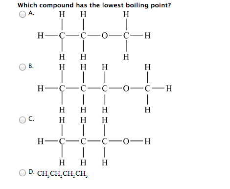 Solved: Which Compound Has The Lowest Boiling Point? Which