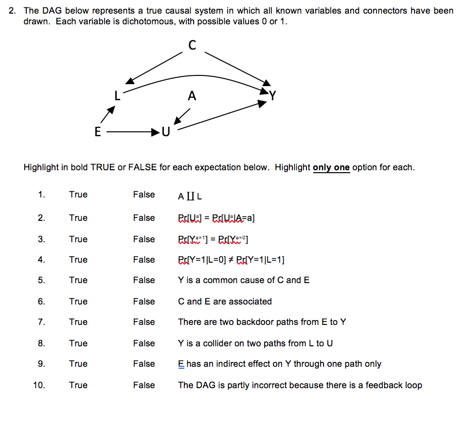 medium resolution of the dag below represents a true causal system in which all known variables and