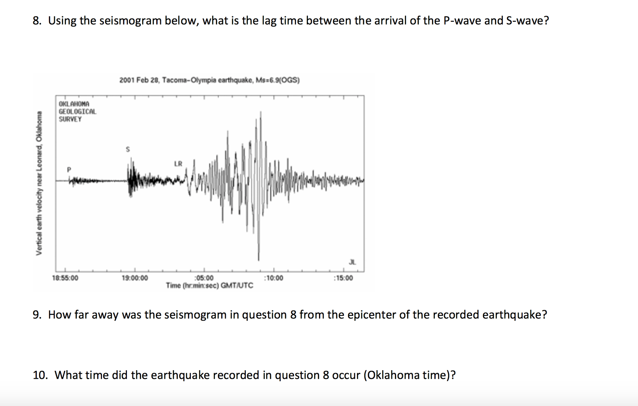 Solved Using The Seismogram Below What Is The Lag Time B
