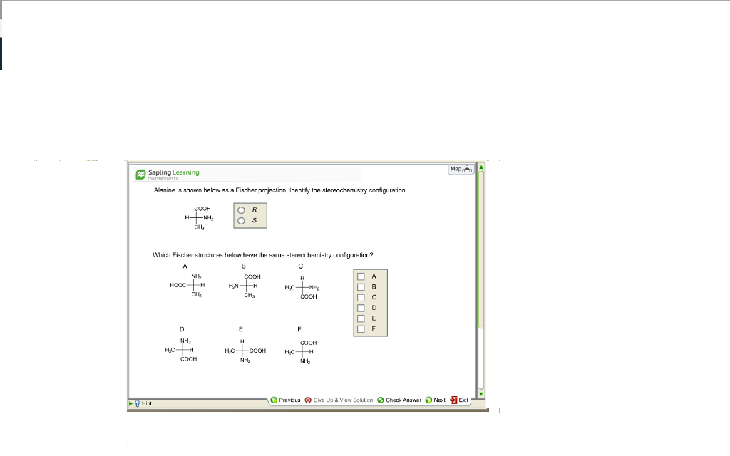 Solved: Map Sapling Learning Alanine Is Shown Below As A F
