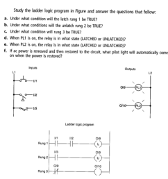 study the ladder logic program in figure and answer the questions that follow a  [ 994 x 1024 Pixel ]