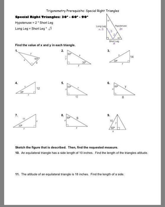 30 60 90 Triangle Worksheet Answer Key : triangle, worksheet, answer, Solved:, Trigonometry, Prerequisite:, Special, Right, Triangles..., Chegg.com
