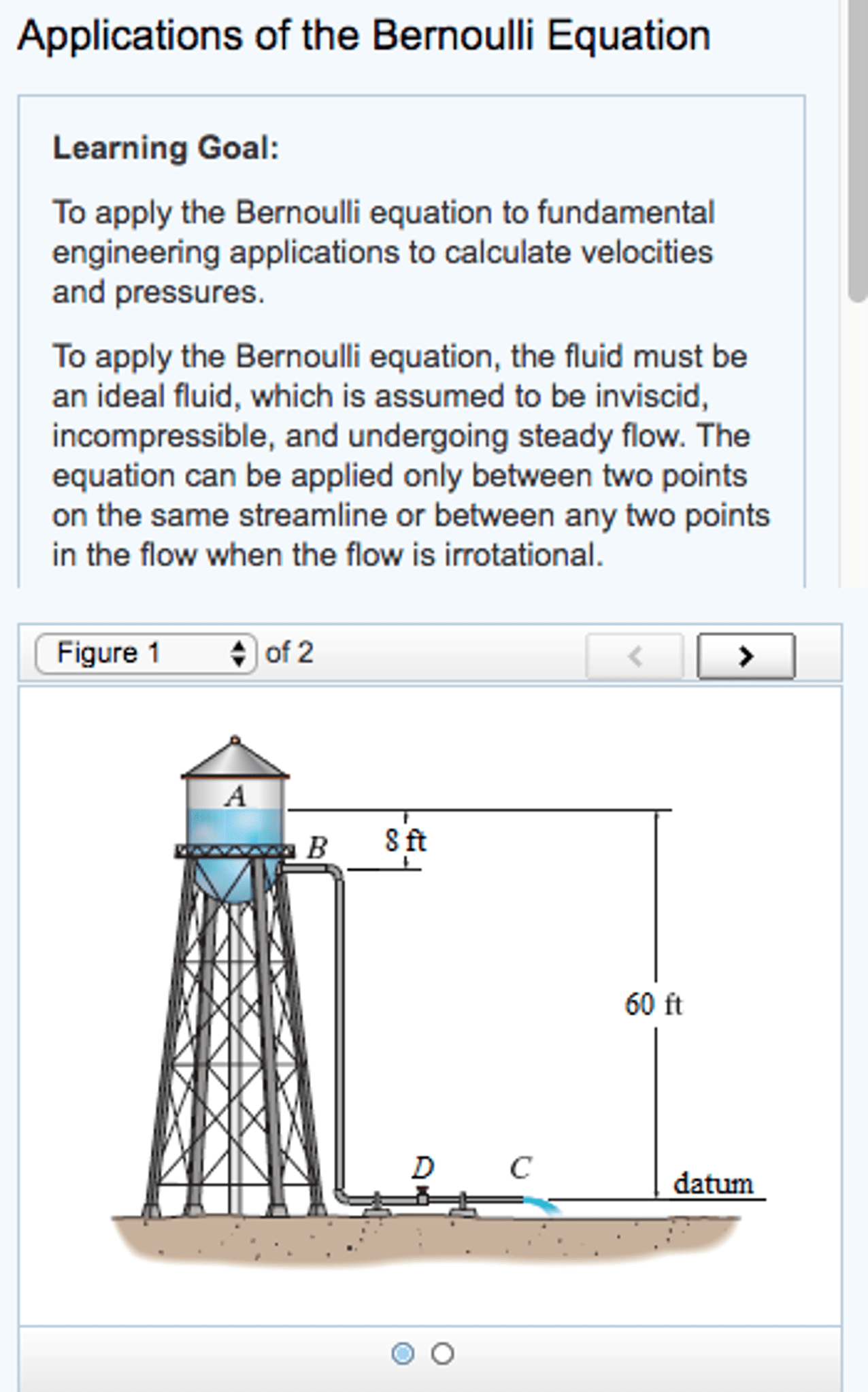 hight resolution of learning goal to apply the bernoulli equation to