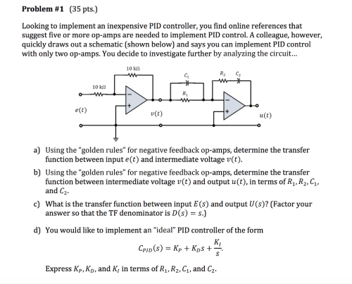 small resolution of problem 1 35 pts looking to implement an inexpensive pid controller you