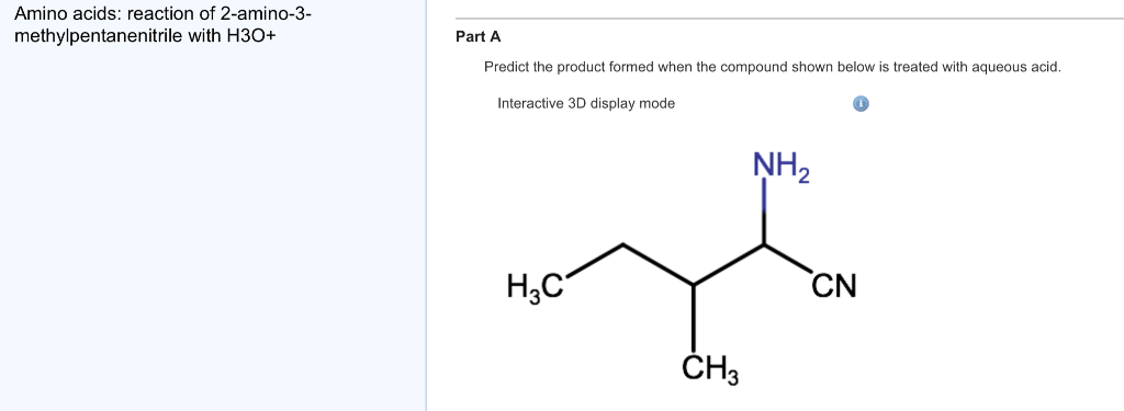 Solved: Amino Acids: Reaction Of 2-amino-3-methylpentaneni