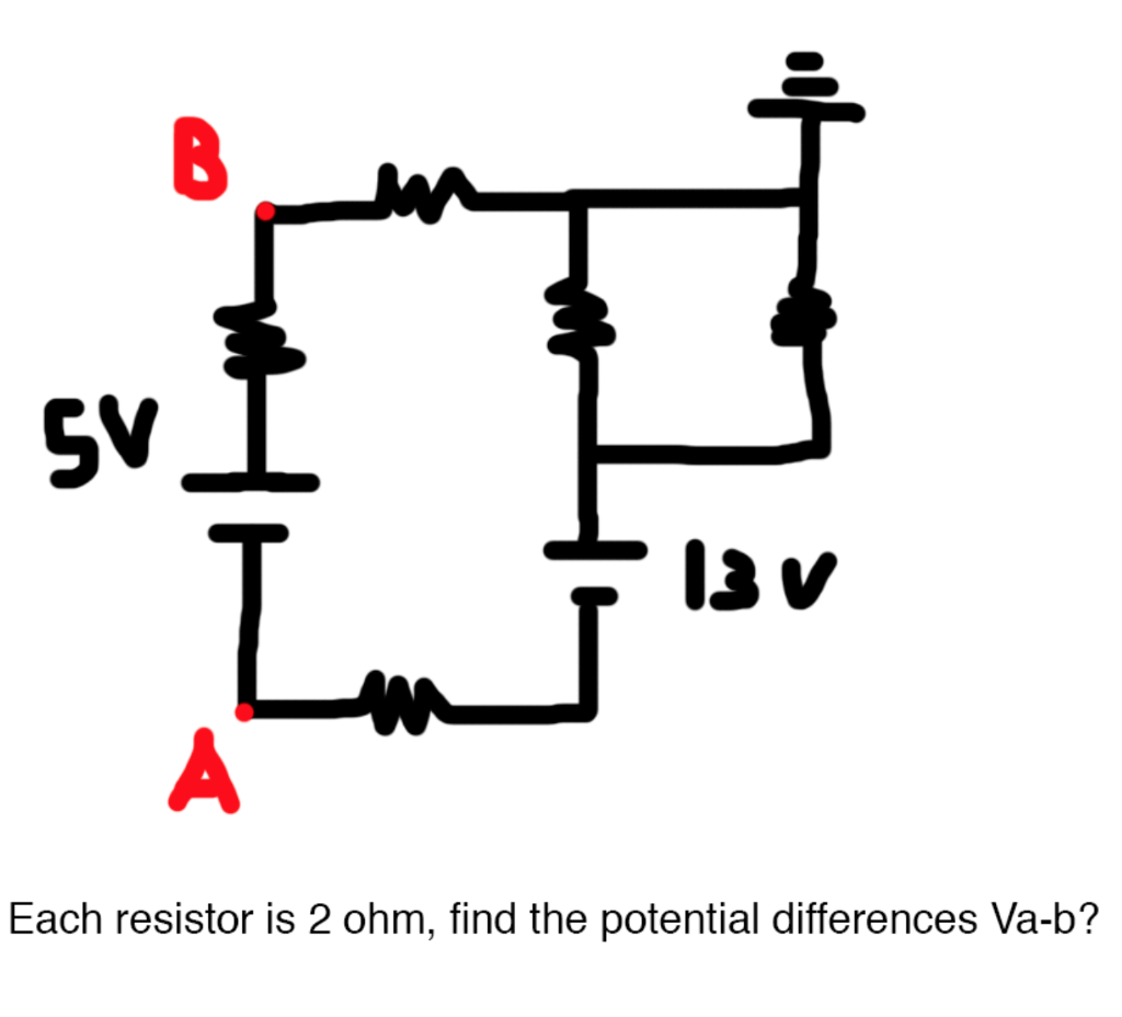 Each Resistor Is 2 Ohm, Find The Potential Differe