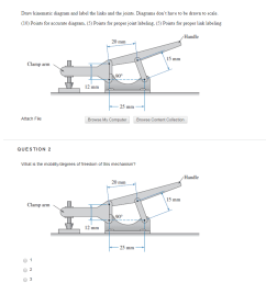 question 1 draw kinematic diagram and label the links and the joints diagrams dont have [ 882 x 1019 Pixel ]
