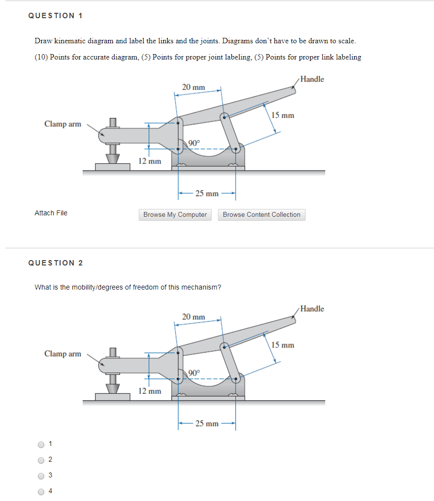 hight resolution of question 1 draw kinematic diagram and label the links and the joints diagrams dont have