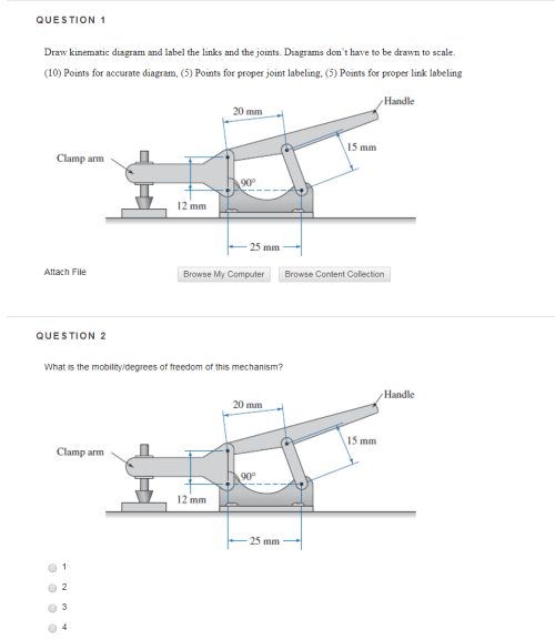 small resolution of question 1 draw kinematic diagram and label the links and the joints diagrams dont have