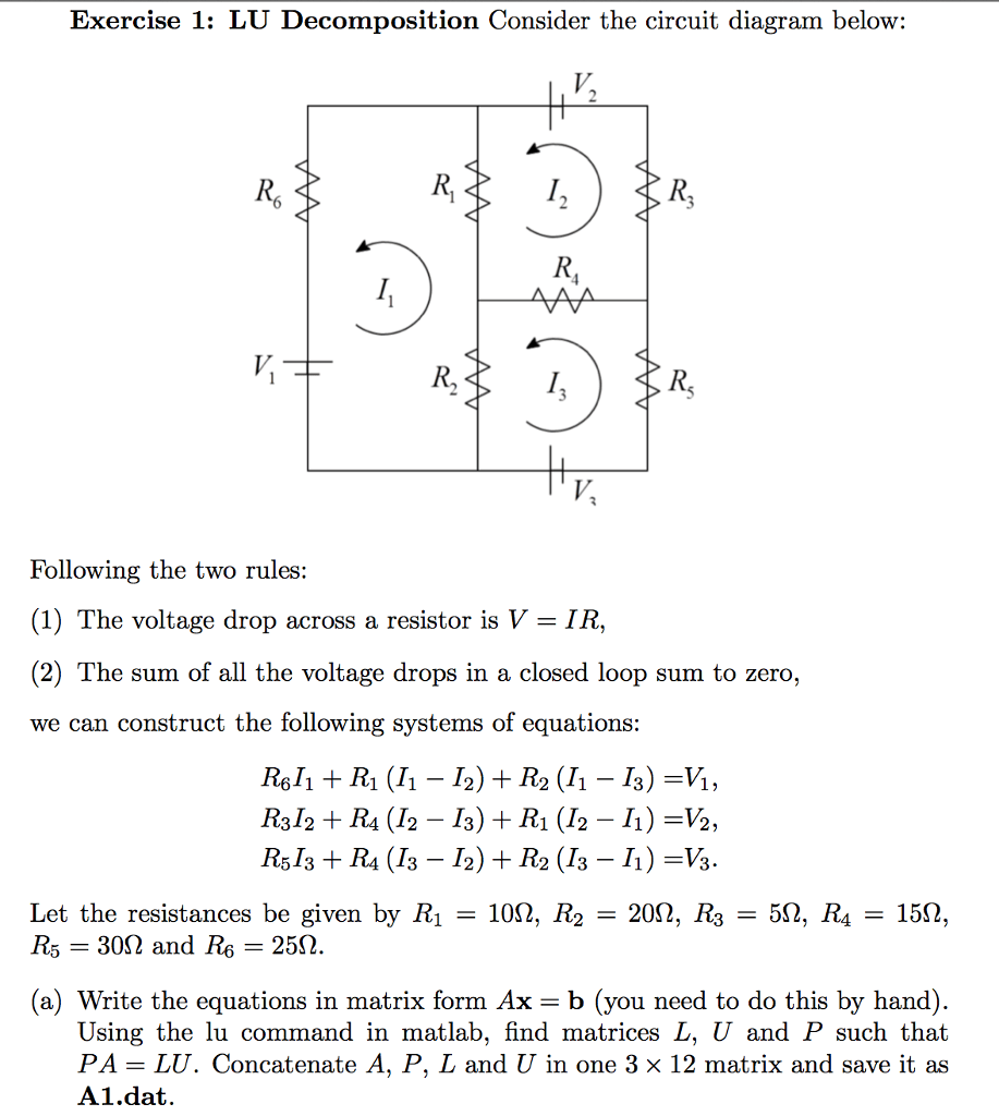 hight resolution of lu decomposition consider the circuit diagram belo