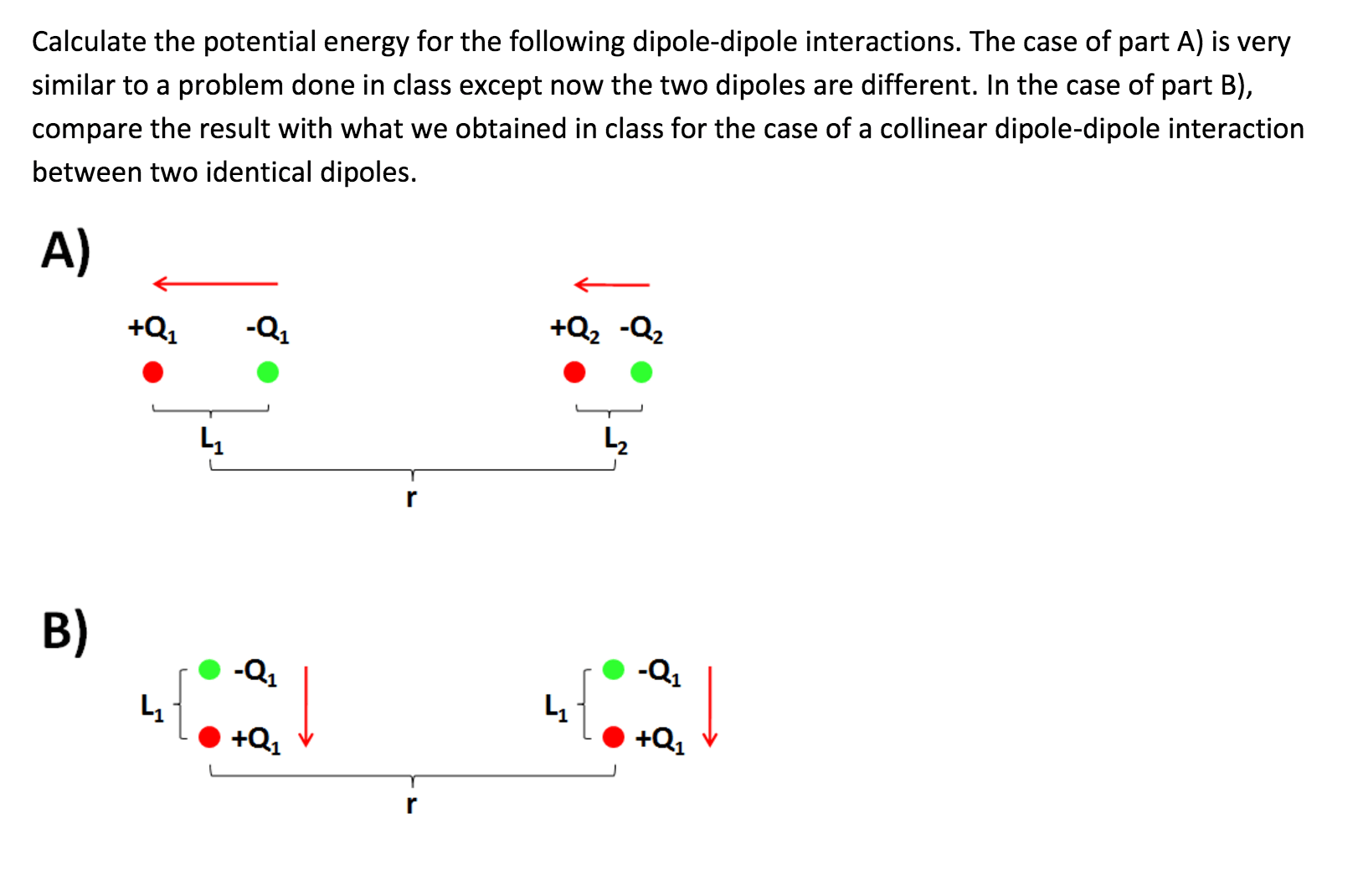 Solved Calculate The Potential Energy For The Following D
