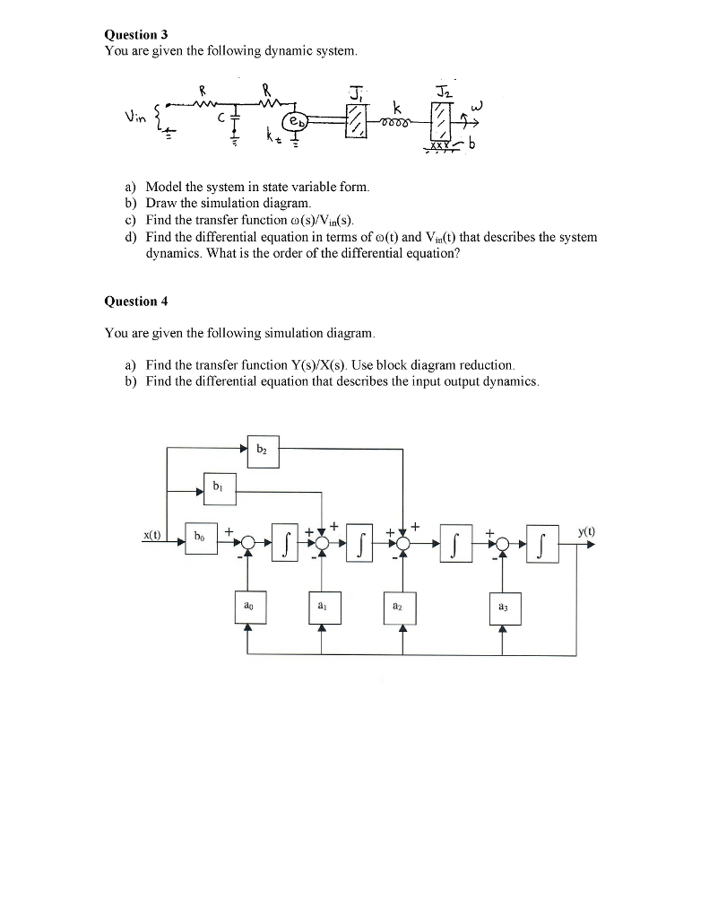 hight resolution of question 3 you are given the following dynamic system a model the system in state