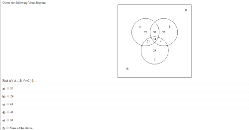 small resolution of given the following venn diagram find n a union b