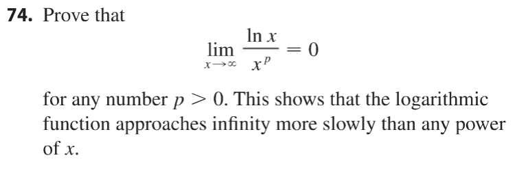 74. Prove that lim x tends to infinity ln x/x^p =