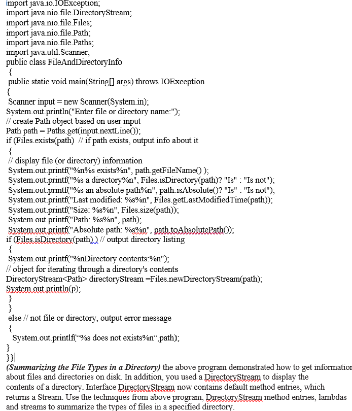 Solved: Import Java.1o.IOException. Import Java Nio.file D...   Chegg.com